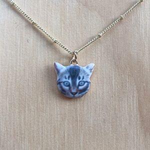 Gray Tabby Kitty Charm Necklace